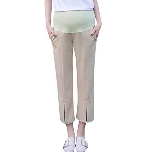 Lonshell Casual Maternity Hose mit Elastische Bund Damen Komfortable Lose Schwangerschaftshose Umstandshose Pants Elegant Haremshose Umstandsmode Stoffhose -