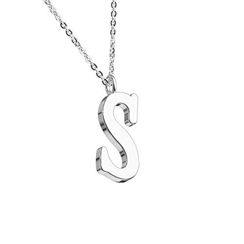 beyoutifulthings Halskette Anhänger BUCHSTABE S INITIALEN Kette Damen-Halskette Schmuck Collier Edelstahl Silber (S Gold-halskette)