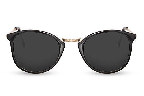 Cheapass Sonnenbrille Rund Schwarz Runde Brille Metall Gold Herren