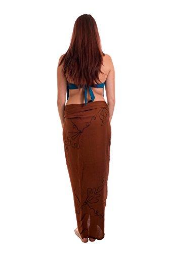 Ca 48 Modelle Sarong Pareo Wickelrock Strandtuch Handtuch Lunghi Dhoti ca. 170cm x 110cm mit Toller Stickerei Handarbeit viele Modelle Braun Dunkle Stickerei