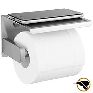 Polarduck Toilettenpapierhalter Ohne Bohren mit Ablage, Selbstklebend Toilettenpapierhalter SUS 304 Edelstahlfür Küche & Badzimmer, Selbstklebend oder Schrauben Installation, Nickel gebürstet, Silber