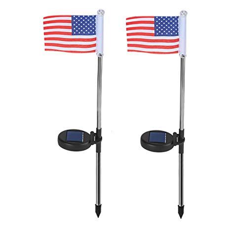 2 STÜCKE Led Solarbetriebene Outdoor Landschaft Leichte Dekoration Gehweg Garten Home Flag Licht Wasserdichte Weg Keine Verdrahtung(Amerikanische Flagge) ()