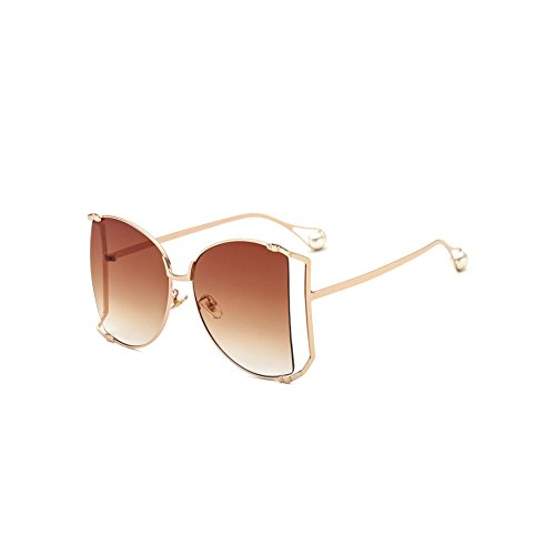 Shuda HD mode Sonnenbrille Flach Metallrahmen Sunglasses Outdoor Sport Unisex13.6x6cm (Gold + Braun)