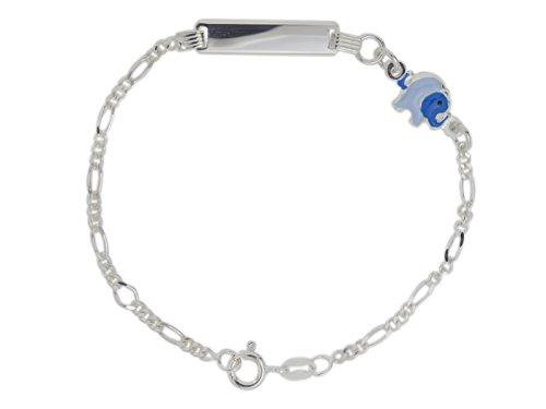 AKA Bijoux - Bracelet d'Identification Enfants Argent 925 avec Éléphant Émaillé Bleu, Cadeau Fantaisie Garçon