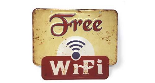 Free WiFi Geprägt Deko Metall Schild WLAN Vintage Retro Bar Wohnung Wohnzimmer Man Cave Blechschild Geschenk für Frauen und Männer Tin Sign Reklame Nostalgie Dekoration