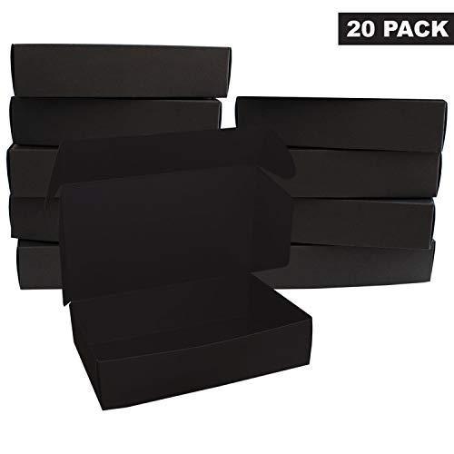 Schwarz Geschenkboxen (20 Pack) - Flache Geschenk Boxen (19 x 11 x 4,5 cm) verwendbar für Veranstaltungen, Hochzeiten Anlässe & Feste - Aufbewahrungsbox für Kuchen, Kekse & Schmuck