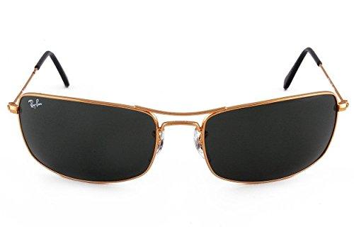 619441c5675 Ray ban 8901279333412 Rayban Sunglass Rb 3334 001 61 Rectangular Golden  Frame Dark Green Glass- Price in India