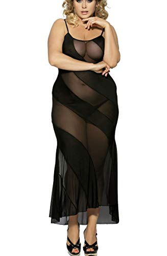 marysgift Damen Langes Negligee Nachtwäsche Dessous Sexy Kleid Schwarz Große Größen - Langes Kleid Mit Sexy Dessous