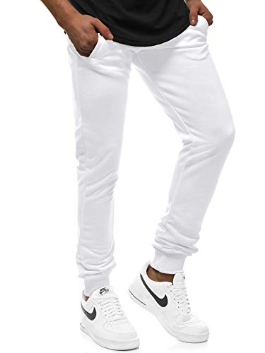 OZONEE Herren Jogg Hose Regular Sporthose Jogger Traininghose Freizeit Jogginghose Streetwear Training Modern Freizeithose Slim 777/837S WEIß XL (Weiße Jogger Hose)