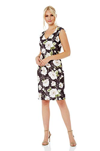 Roman Originals Damen eng anliegendes Spitzenkleid mit Blumenmuster - Damen herzförmiger Ausschnitt, Knielänge, zum Ausgehen, elegant, für feierliche Anlässe - Schwarz - Größe 48 -