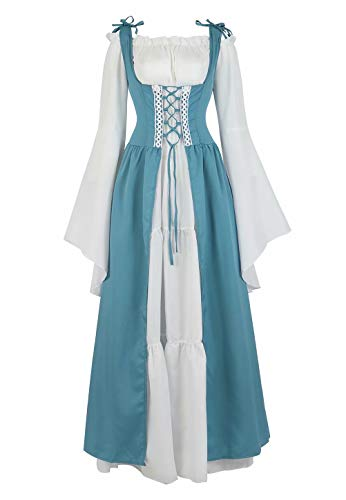 Josamogre Mittelalter Kleid Renaissance Damen mit Trompetenärmel Party Kostüm bodenlang Vintage Retro Costume Cosplay Blau XL