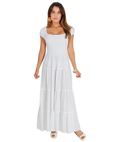 9263-WHT-12: KRISP Damen Boho Maxi Kleid Einfarbig Bodenlang (Weiß, Gr.40) (Sommer-weiße Maxi-kleider)