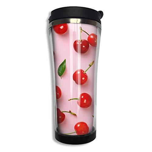Cherry Pink Wallpaper Stainless Steel Coffee Mug 14.2 Oz Travel Mug Leakproof Insulated - Leak-proof Insulated Travel Mug