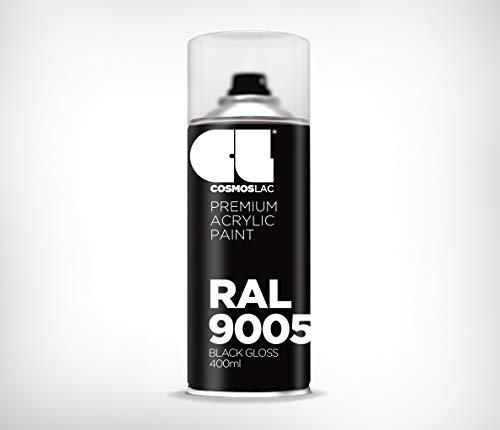 COSMOS LAC Acryllack Sprühdose, glänzend - Sprühlack Farbspray DIY Lackspray Sprühfarbe Sprühdose (RAL 9005 - schwarz glänzend) -