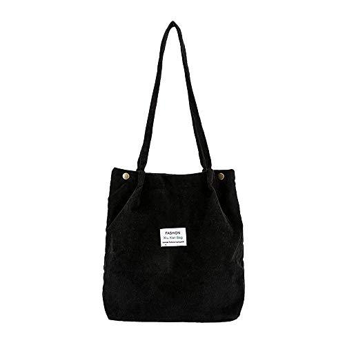 HCFKJ Tasche, Mode Frauen Cord Pure Color Schultertasche Satchel Tote Handtasche Reisetasche (BK)