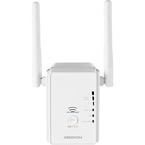 MEDION P85059 Dualband WLAN WiFi Verstärker mit LAN Anschluss (WLAN 11ac bis zu 433 Mbit/s, Access-Point, Client, abwärtskompatibel zu 802.11 a/b/g/n) - 802.11 A/b/g Outdoor Access Point