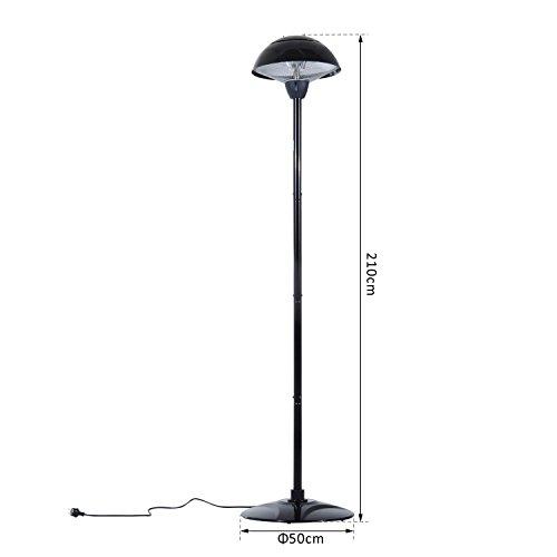 Outsunny® Elektrischer Terrassenstrahler Heizstrahler Infrarotstrahler schwarz/silber 1500W/2000W Decken/Wandmontage/Standheizstrahler (Modell3); - 7