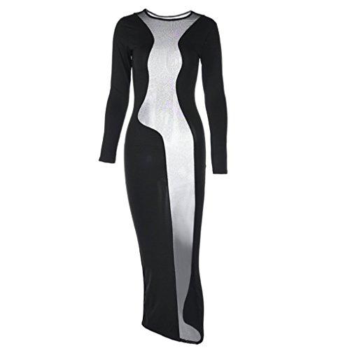 Frauen Diskothek Ineinander greifen Spliced   Partei-reizvolle Wäsche heißes Kleid Schwarz Langarm Rassig Kostüm Negligée