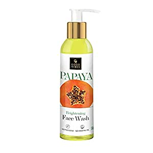 Good Vibes Papaya Brightening Face Wash 120 ml - Radiant Glowing Moisturizing Brightening Anti Ageing Pore Cleansing Formula for All Skin Types, Natural, No Parabens & Mineral Oil, No Animal Testing