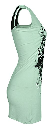 Womens Ladies dentelle dos Sequin Rose imprimé gilet Top Menthe