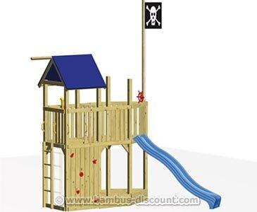 """Kinderspielhaus Set """"CORSAR"""" als Piratenschiff, mit Rutsche und Sandkasten - Gartenhaus für Kinder, Spiele Haus Garten Kinder"""