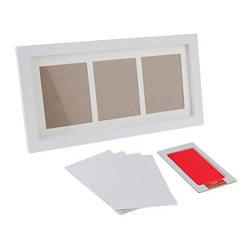 perfk Baby Handabdruck und Fußabdruck Holz Bilderrahmen mit Stempelkissen Abdruck Set Geschenk für Neugeborene - Rot