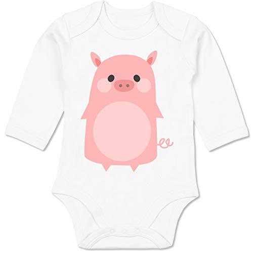 Schweinchen Kostüm Babys - Shirtracer Karneval und Fasching Baby - Fasching Kostüm Schweinchen - 12-18 Monate - Weiß - BZ30 - Baby Body Langarm