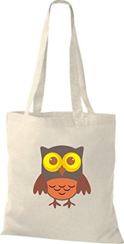 ShirtInStyle Jute Stoffbeutel Bunte Eule niedliche Tragetasche mit Punkte Karos streifen Owl Retro diverse Farbe, weiss natur