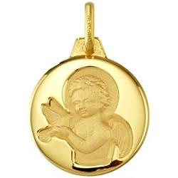 ANGE ET LA COLOMBE - Médaille Religieuse - Or 18 carat - Hauteur: 15 mm - www.diamants-perles.com