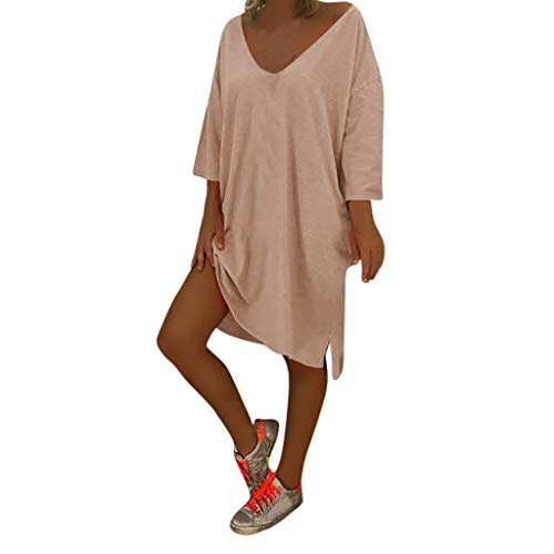 Honestyi Frauen V Ausschnitt Feminino Vesti Kaftan Boho Strand Abdeckung Plus Size Damen Baggy Dress Vintage Laterne Ärmel A-Linie Rock