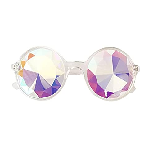 Kaleidoscope Gläser ,Frashing Kaleidoskop Brillen, Rainbow Rave Prism Beugung Rave Festival Party EDM Sonnenbrille Diffracted Objektiv (Klar)