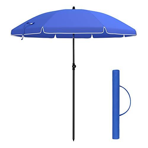 SONGMICS Sonnenschirm, 180cm, Marktschirm, Sonnenschutz, achteckiger Gartenschirm aus Polyester, knickbar, mit Tragetasche, ohne Ständer, für Strand, Garten, Balkon und Schwimmbad, blau GPU60BU