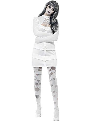 Smiffy's 33287L - Sexy Zwangsjacke Kostüm mit Kleid Mock Shrug und Schnürung (Zwangsjacke Kostüm Halloween)