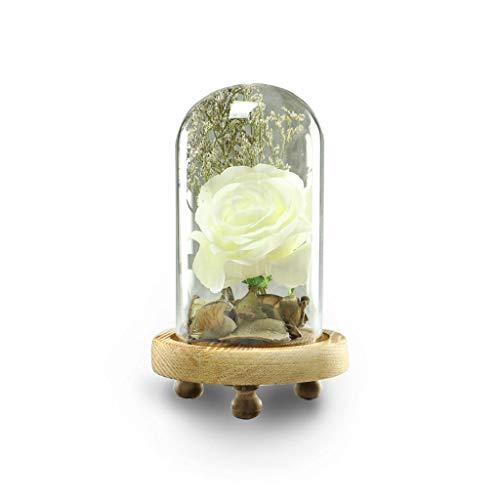 QUICKLYLY Rosa Flores Seda,Rose Kit Completo,Cristal Romántico Decoración De La Boda Muebles para El Hogar (Blanco)