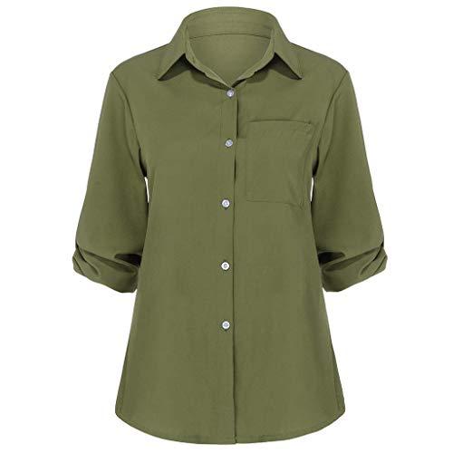 erstellbare Ärmel Oberteile Damen mit Gefaltete Rücken DehnbareLockere Tunika Damen Sommer Herbst Arbeitskleidung mit Taschen Einfarbige Basic Blusetops Damen 46 44 (Armeegrün, 34) ()