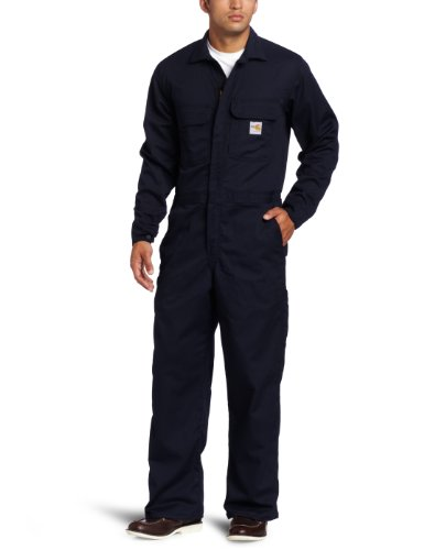 Carhartt Herren Overall aus Twill, schwer entflammbar, groß und hoch - Blau - 58 Kurz -