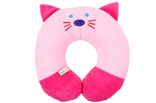 Ole Baby Cat Face Children'S Neck Support Pillow, Soft And Plush,Blue 0-12 Months