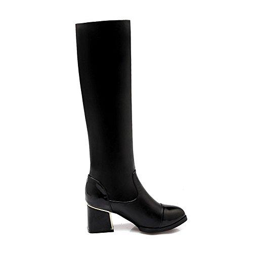 AllhqFashion Damen Mitte-Spitze Ziehen auf Blend-Materialien Mittler Absatz Stiefel, Schwarz, 35