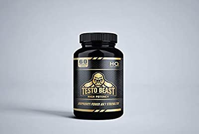TESTO BEAST For Men - Beast and Bulk Nutrition - Testosterone Boosters - 1000mg serving - High Quality and Potency - 60 Capsules - Natural Ingredients - MACA Root and Fenugreek - Unflavoured - 1 Months supply from Private label nutrition