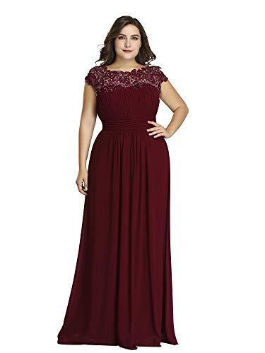 bf6e93701f7e Ever-Pretty Vestito da Sera Donna Stile Impero Chiffon Pizzo A Line  Elastico sul Retro