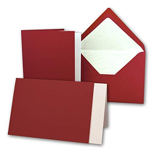 50 Sets - großes Kartenpaket mit 50 Faltkarten, passenden Einlegeblättern in creme & 50 gefütterten Umschlägen (gerippt) DIN B6-12 x 17 cm in Dunkelrot!