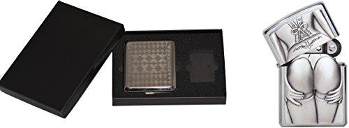 Zippo 15462 Feuerzeug Stocking Girl Plus Zigaretten Etui Gift Set, Artikel Nummer 1.300.116.3, Chrom ausgebürstet
