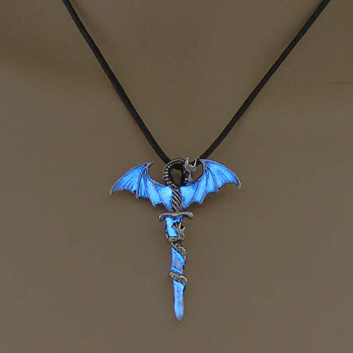 ark Necklace Sword Dragon Necklaces for Metal Animal Pendant Night Luminous Fluorescence, Blue ()