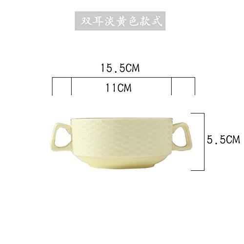 LppkzqCandy Farbe ohr Suppe Becher können gestapelt werden Knopf Grill dessert Schüssel Schüsseln aus gedämpftem Eierbecher ohr Schüssel, M315 binaural Schüssel (gelb)