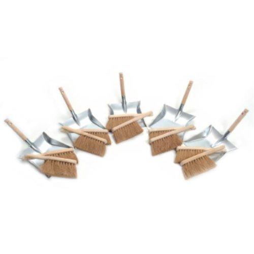 Kehrschaufel-Set 10 Kokos Handfeger 5 Kehrschaufeln verz.