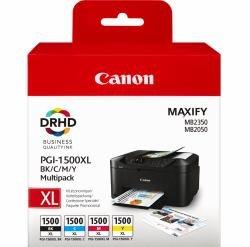 Canon PGI-1500XL C/M/Y/BK Multipack - Hohe Ergiebigkeit - Schwarz, Gelb, Cyan, Magenta - Original - Tintenbehälter - für MAXIFY MB2050, MB2350 Canon PGI-1500XL C/M/Y/BK Multipack - Hohe Ergiebigkeit - Schwarz, Gelb, Cyan, Magenta - Original - Tintenbehälter - für MAXIFY MB2050, MB2350