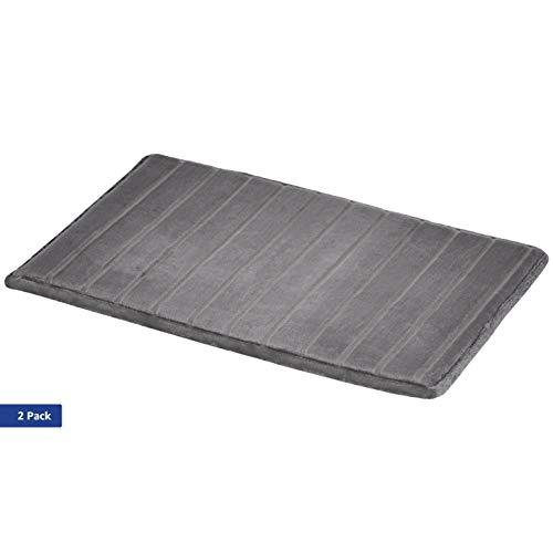 AmazonBasics - Badematte, Streifenstruktur, Memory-Schaum, Grau, 50 x 80 cm, 2er-Pack