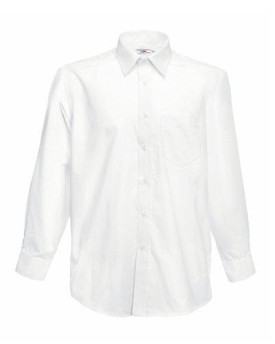 Fruit Of The Loom Poplin Hemd für Männer, langarm (XL) (Weiß) XL,Weiß
