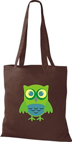 ShirtInStyle Jute Stoffbeutel Bunte Eule niedliche Tragetasche mit Punkte Karos streifen Owl Retro diverse Farbe, hellblau braun