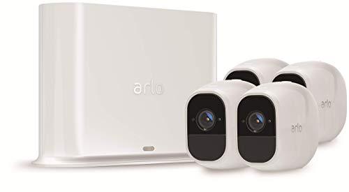 Arlo Pro2 VMS4430P-100EUS Kit Base Sistema di Videosorveglianza Wi-Fi con 4 Telecamere di Sicurezza, Audio 2 Vie, Batteria, Full HD, Visione Notturna, Interno/Esterno, Vcr Opz, Alexa e Google Wi-Fi